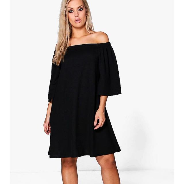 Boohoo Plus Off The Shoulder Swing Dress
