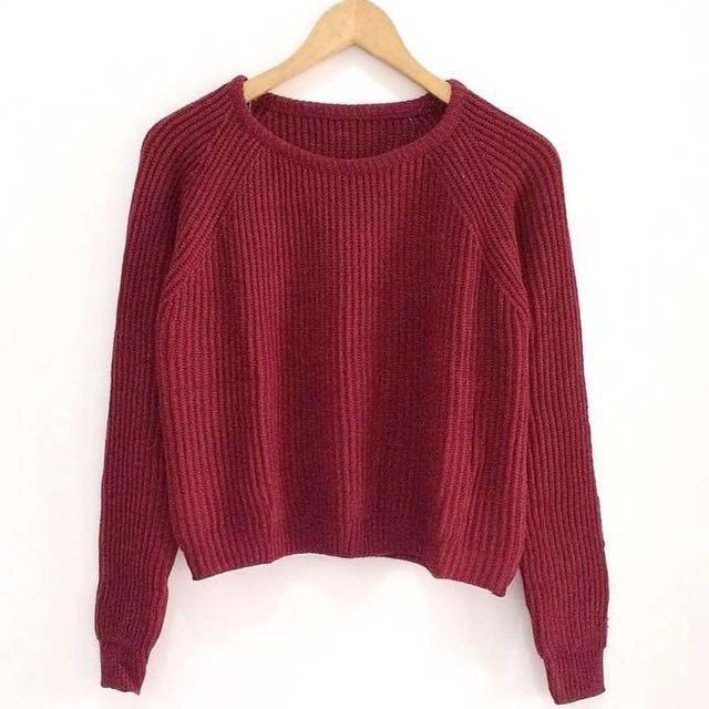 boxy crop premium sweater