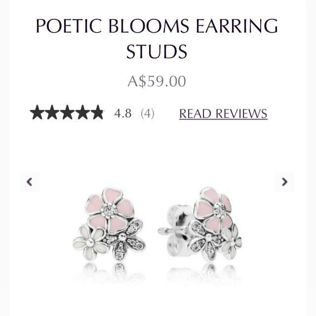 1a9ab52cc Brand new authentic Pandora Poetic Blooms earrings studs 925 ale Sterling  silver, Women's Fashion, Jewelry on Carousell