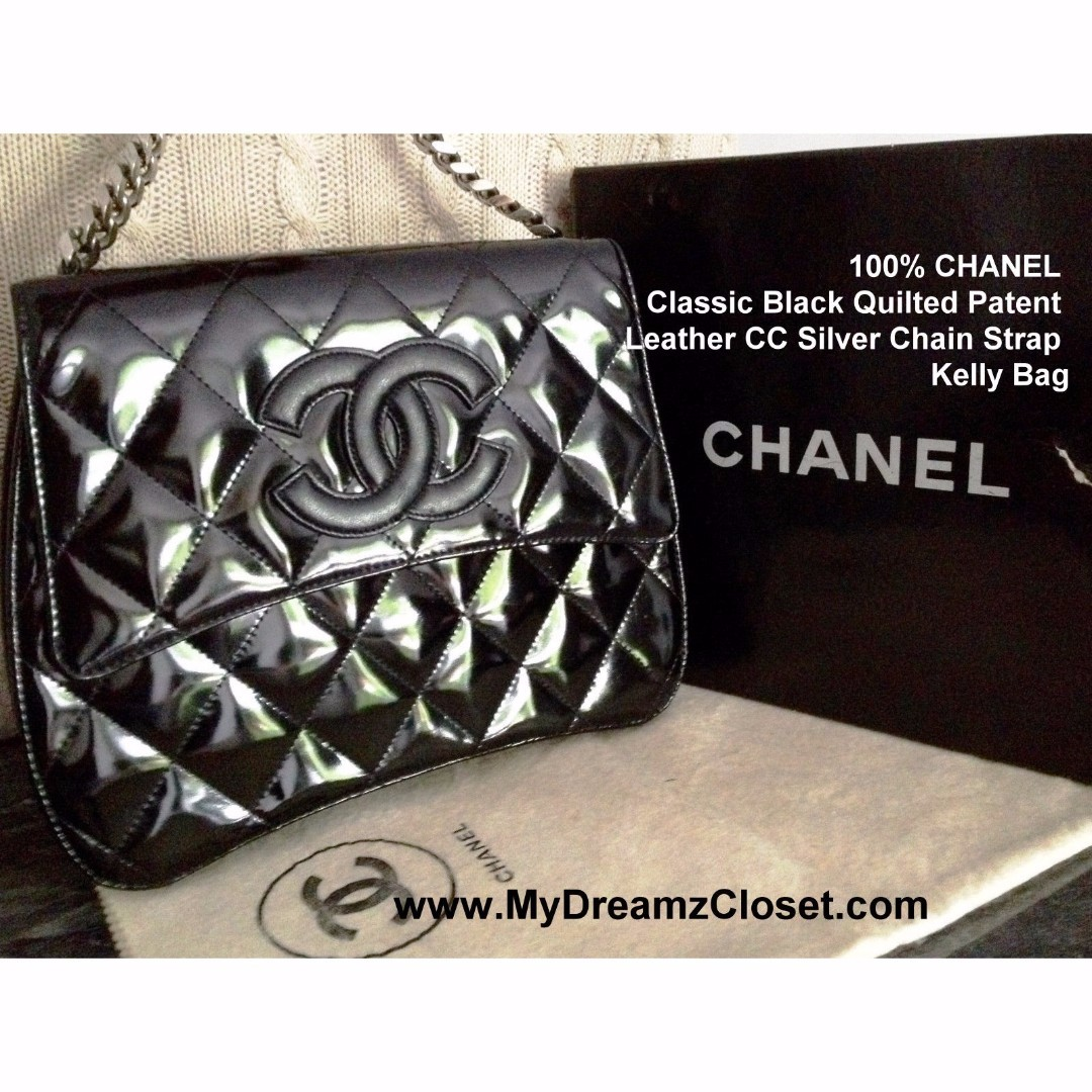 100% CHANEL Classic Black Quilted Patent Leather CC Silver Chain Strap Kelly Bag
