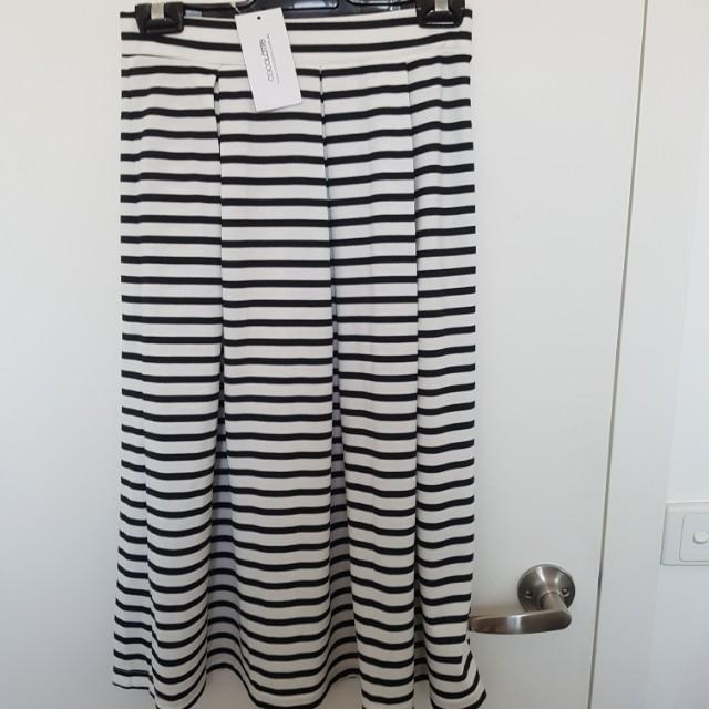 Cocolatte stripy midi skirt size 8