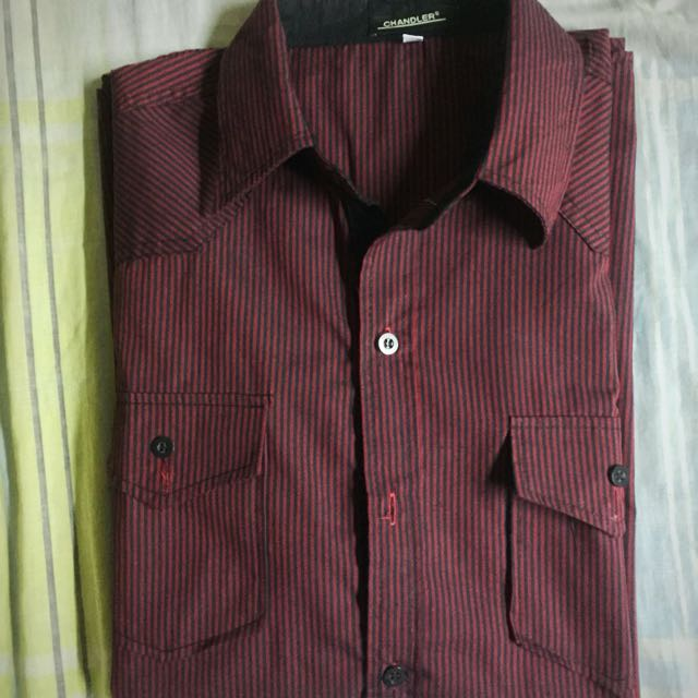 Dark Red Short Sleeves Button-down Polo Ralph Lauren Lacoste Naatica Tommy Hilfiger Burberry Calvin Klein
