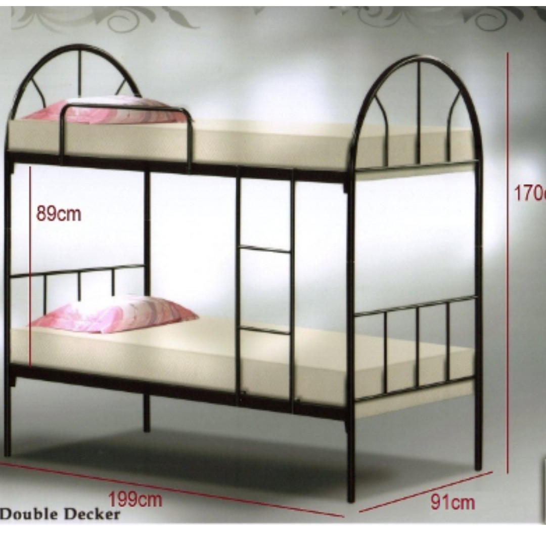 DOUBLE DECKER BED FRAME (METAL), Furniture, Beds & Mattresses on ...