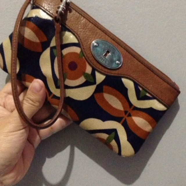 #FLG wristlets fossil flower blue second original asli clutch dompet