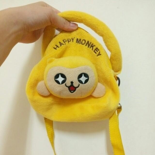 Happy Monkey 黃色手提側背肩背小包 #交換最划算