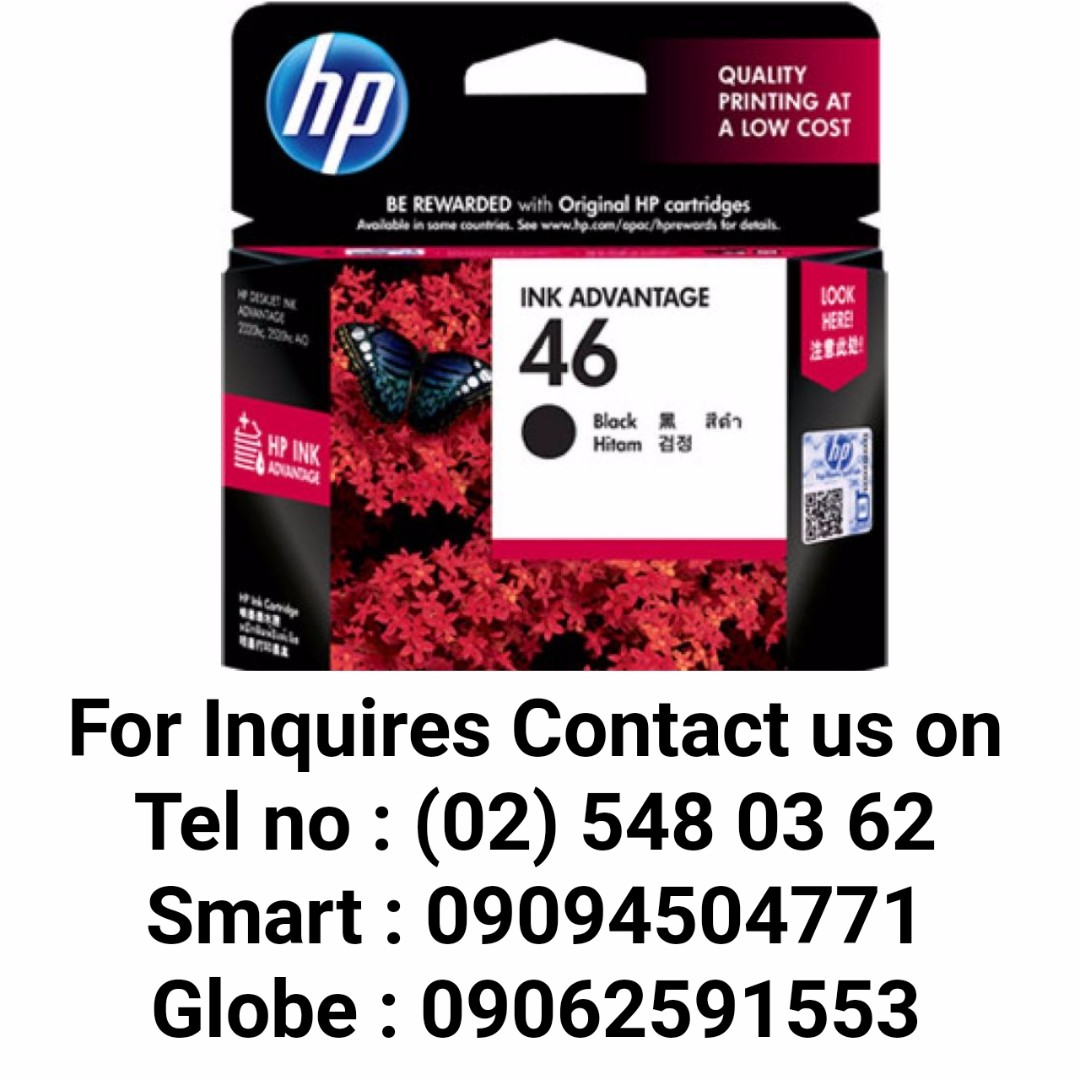 HP 46 BLACK ORIGINAL INK ADVANTAGE CARTRIDGE (CZ637AA), Electronics, Computer Parts & Accessories on Carousell