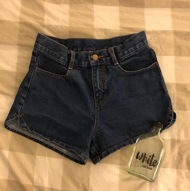 Hung High Waist Denim Short Pant with Cursive Outline Design
