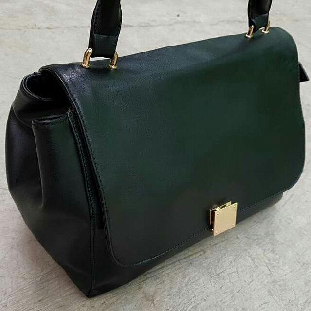 Imported leather flap bag