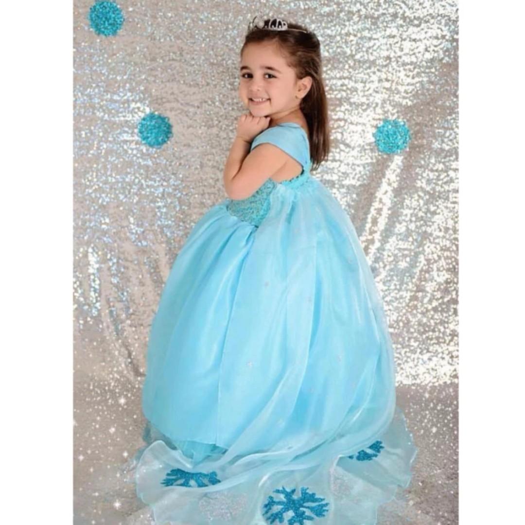 Kids Dress Blue Gown Birthday Dress Queen Elsa Costume Frozen ...