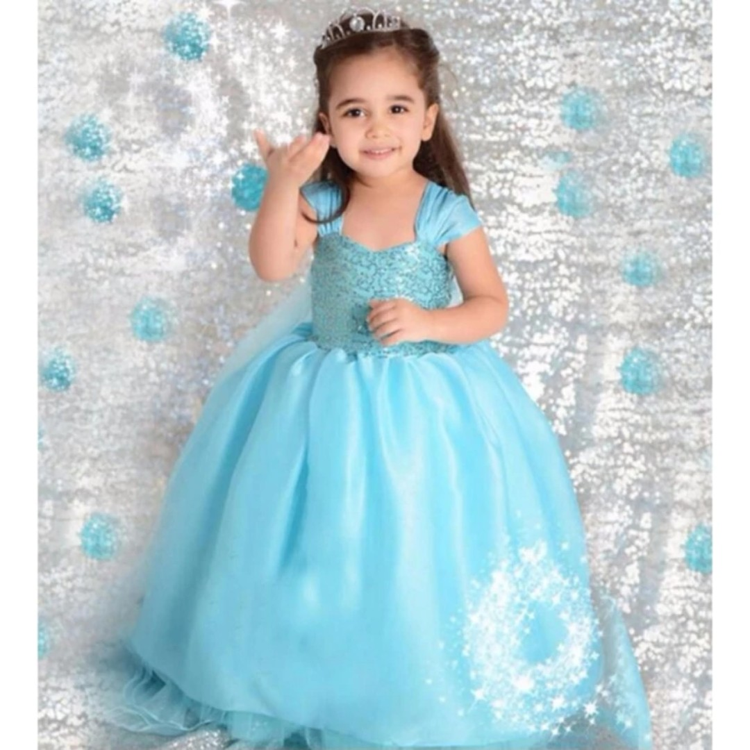 Kids Dress Blue Gown Birthday Dress Queen Elsa Costume Frozen ...