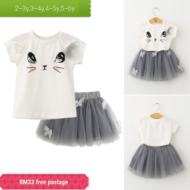 Kids girl tutu cat dress 2 piece set