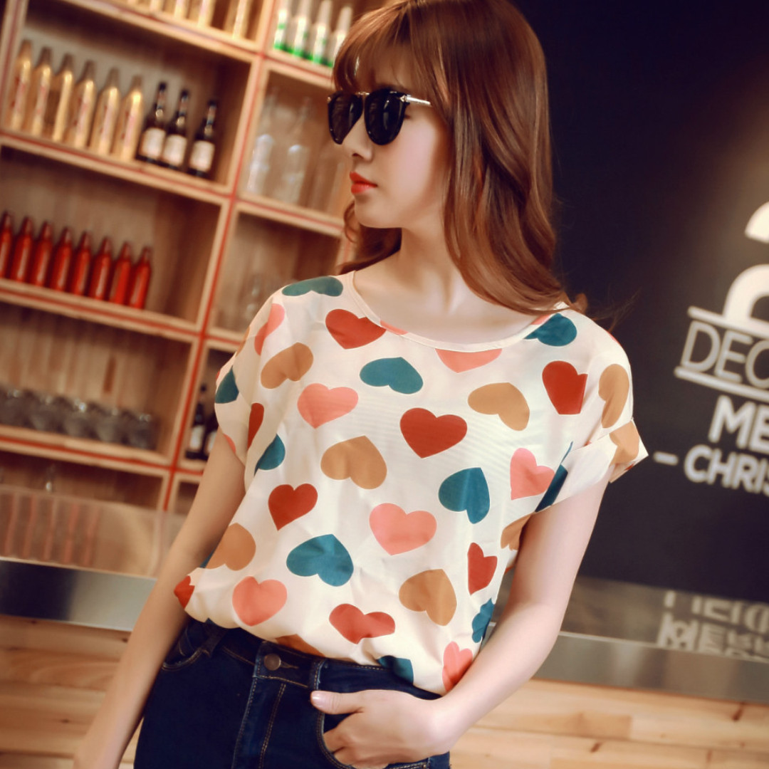 2f2b372412d84 Korean Style Chiffon Top Blouse Shirt Folded Short Sleeve (Hearts ...