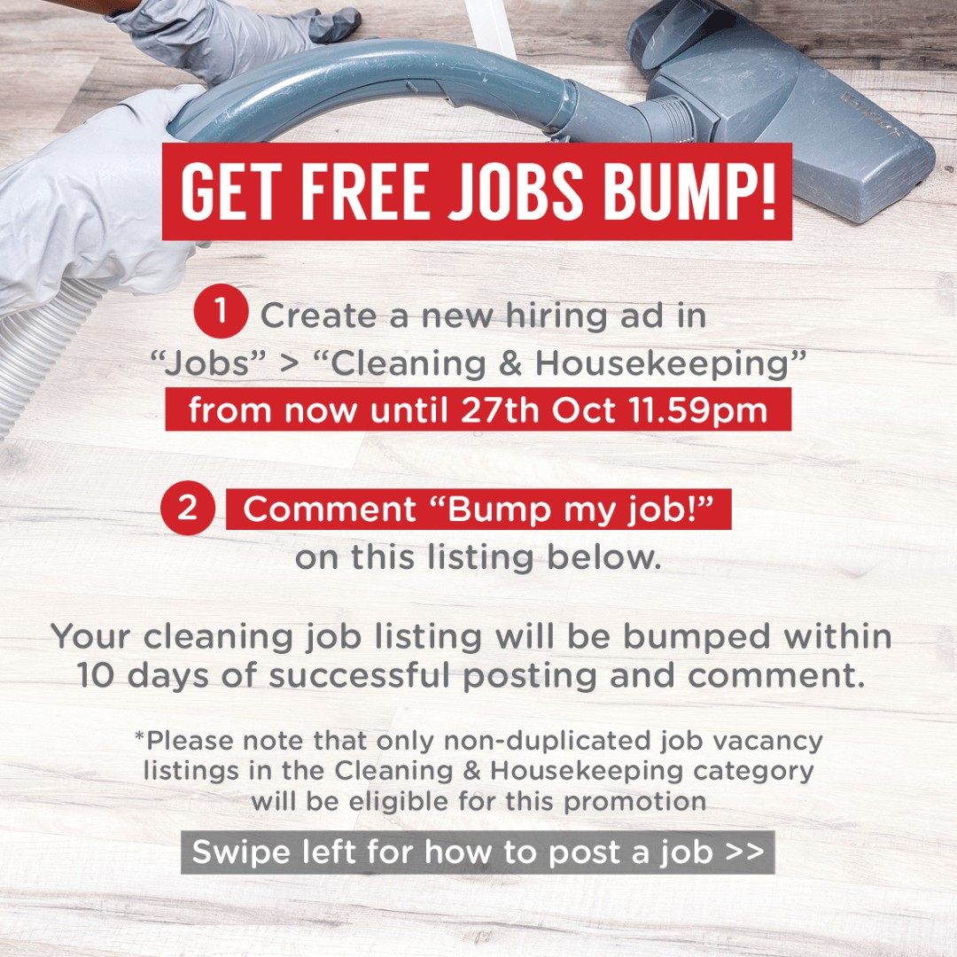 list your cleaning job hiring ad and get 1x free jobs bump worth s1498 jobs part time cleaning housekeeping on carousell - How To Get A Housekeeping Job