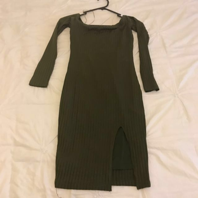 Long Sleeve Khaki Dress