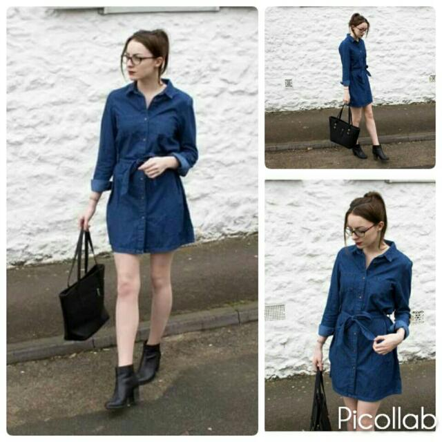 Longsleeve Denim Dress W/belt