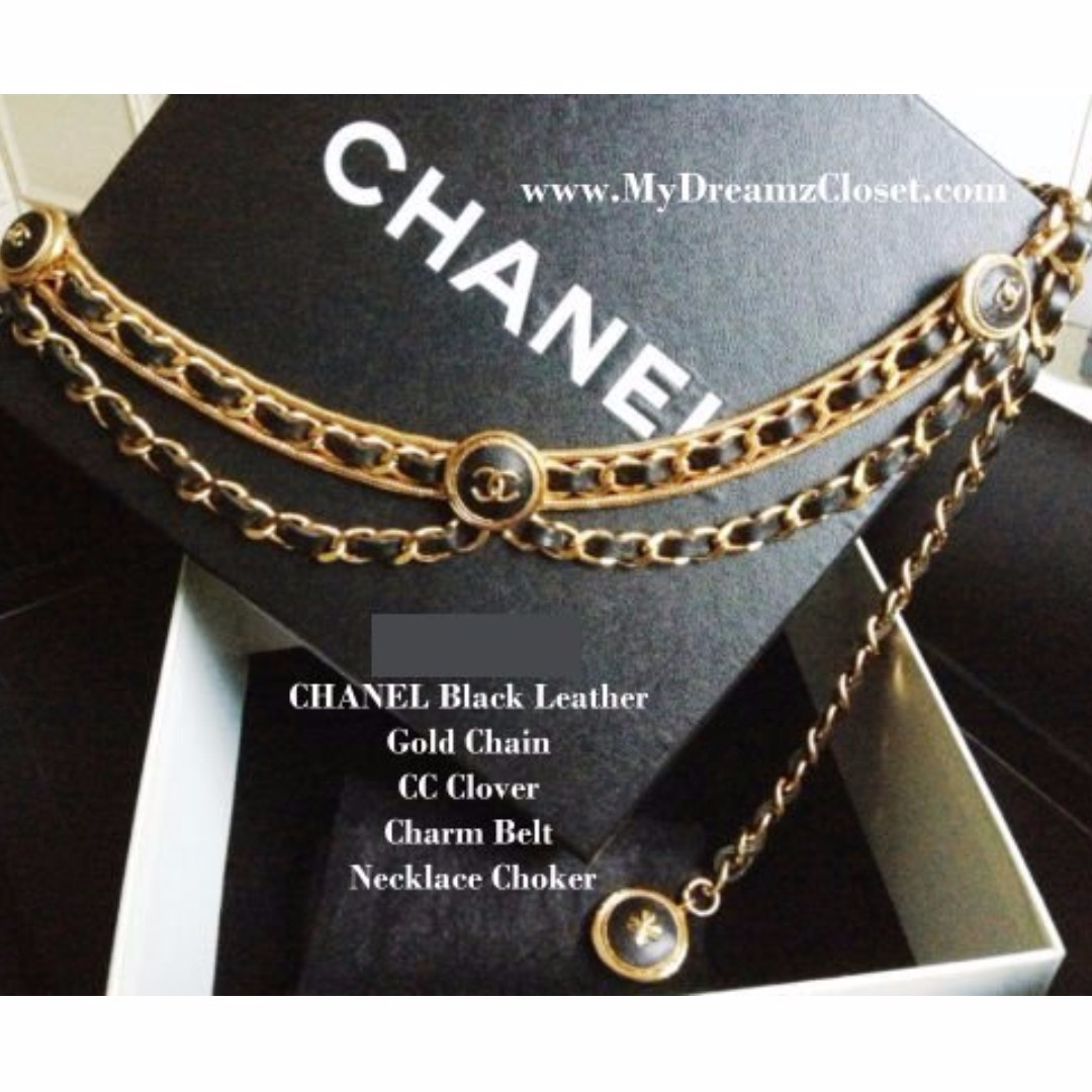 MINT 100% CHANEL Black Leather Gold Chain CC Clover Charm Belt Necklace Choker