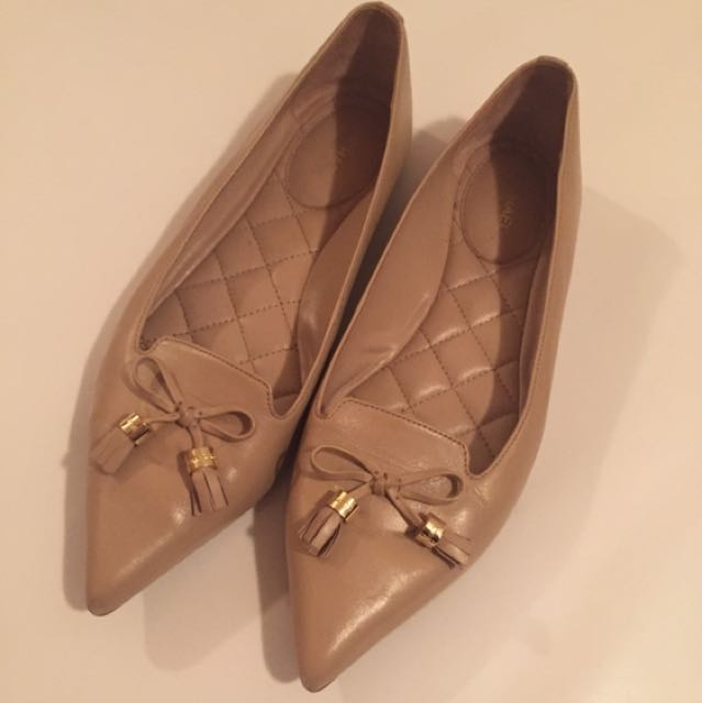MK Nude Pointed Leather Loafers