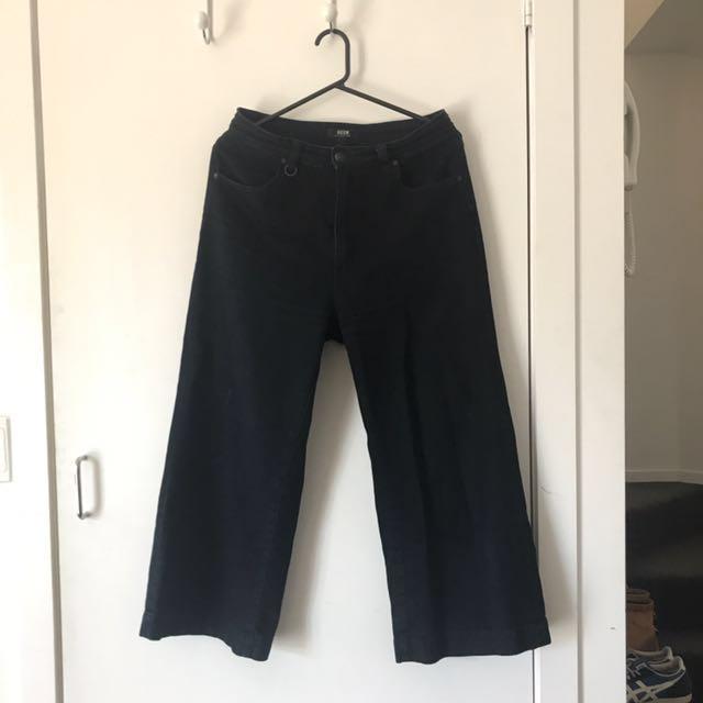 Neuw Denim Indigo Wide Leg Cropped Jeans Size 9s