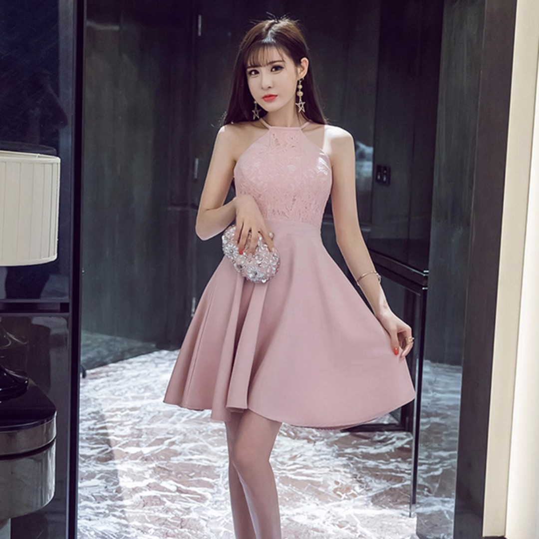 Pastel Coloured Floral Lace Korean Style Designed Halter Skater ... 3796d1611