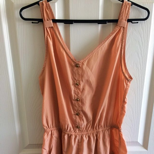 Peach Button Up Playsuit With Pockets