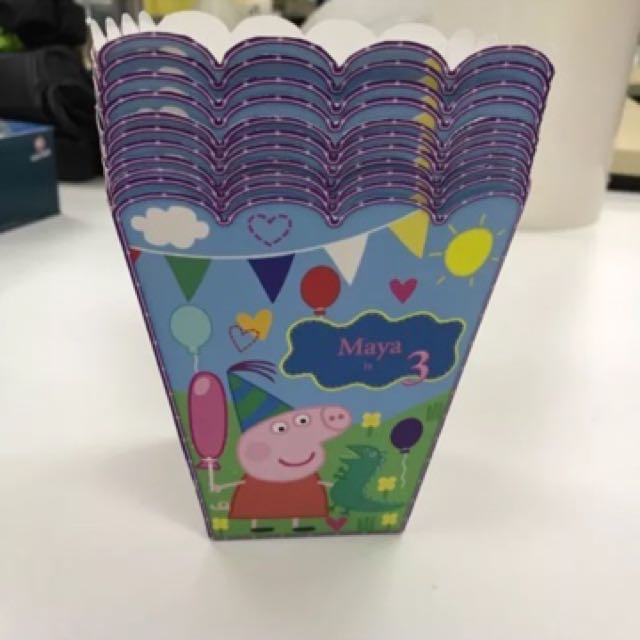 Peppa Pig Personalized Birthday Party Favor Popcorn Box 🍿