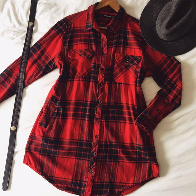 Plaid Flannel Dress / Top