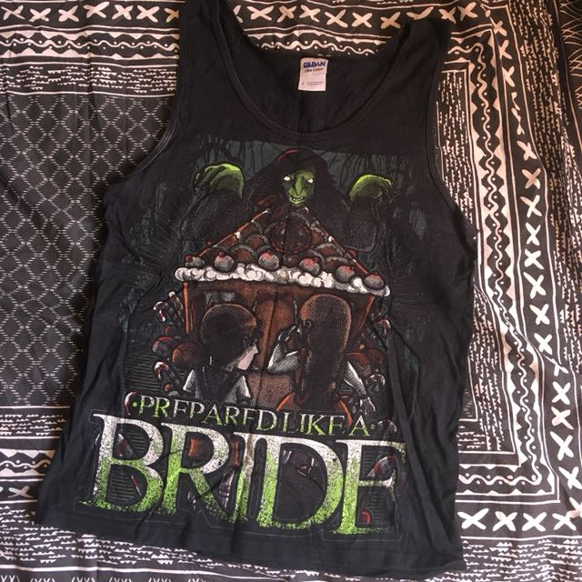 prepared like a bride/plab band merch singlet, men's size small