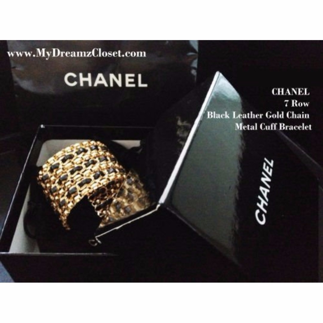 RARE New Vintage 100% CHANEL 7 Row Black Leather Gold Chain Metal Cuff Bracelet
