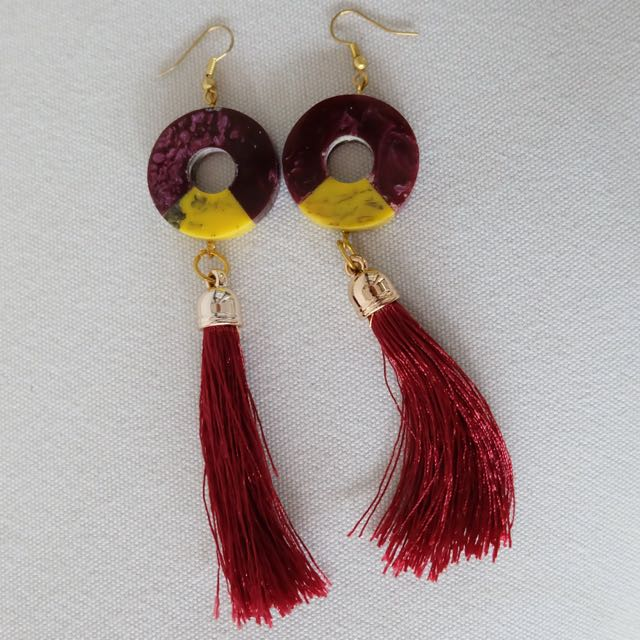 Red Earring Tassels