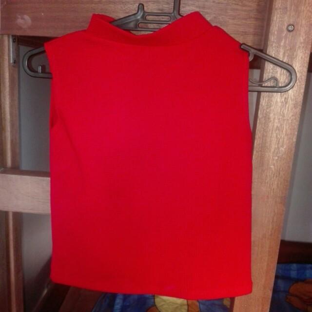 Red Mock Turtleneck Top