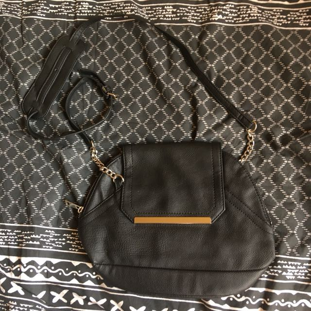 sportsgirl black faux leather handbag with silver hardware