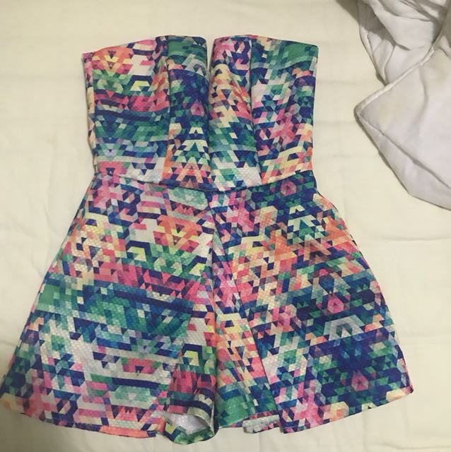 Strapless playsuit in Multi colour