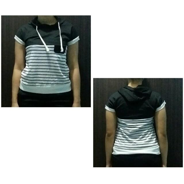 stripes hood shirt
