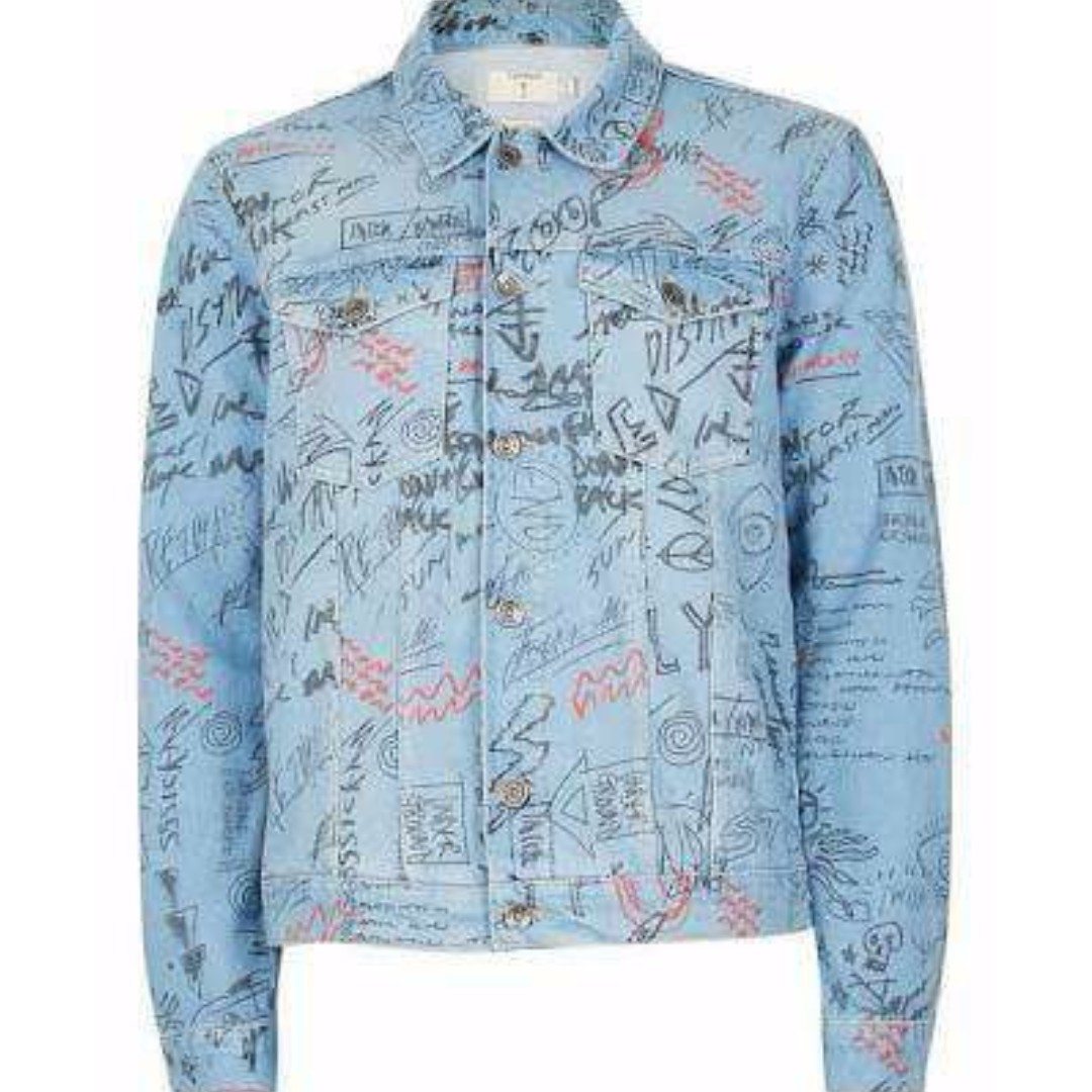 TOPSHOP DENIM GRAFFITI JACKET