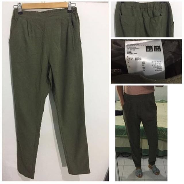 Uniqlo Army Green highwaist Trousers
