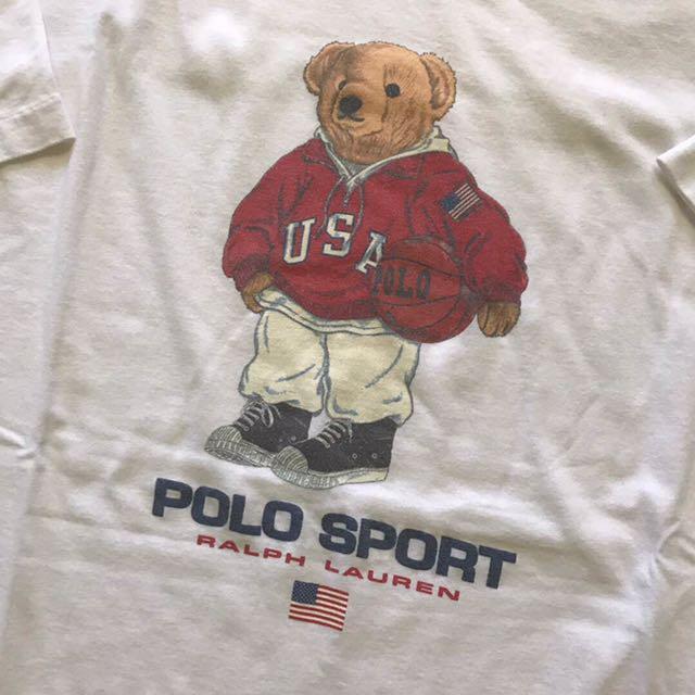 Vintage T-Shirt 90/'s POLO Bear Original Sport Polo Bear Black Shirt Gift Bear