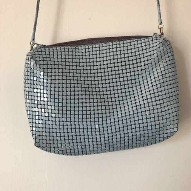 Vintage Sky Blue Chain Mail Bag with Maroon Silk Lining