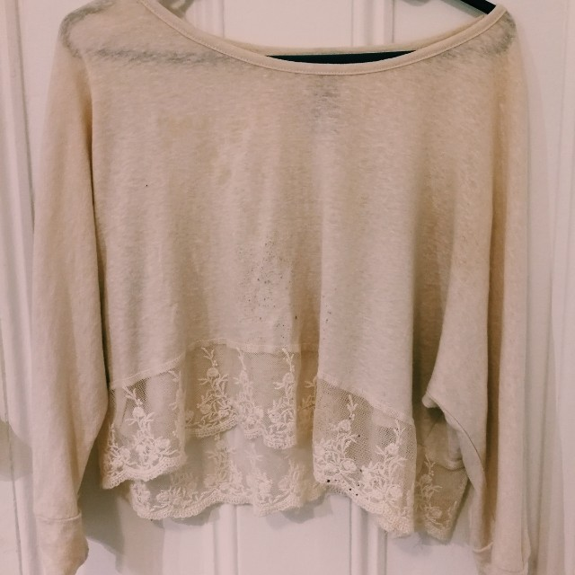White lace crop 3/4 long sleeve