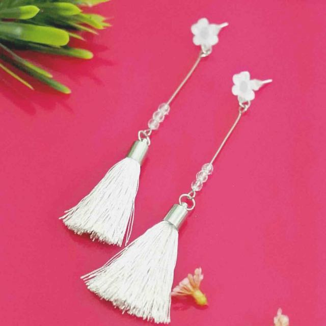 White Tassels earrings