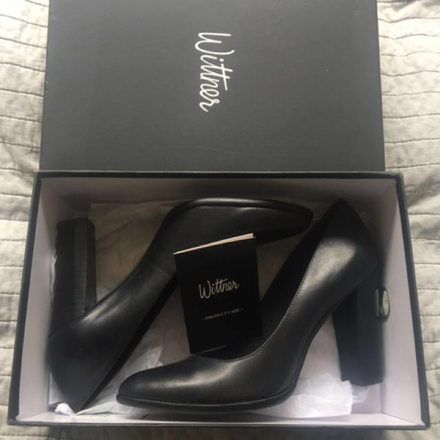 Witners Willa Black Leather Pumps