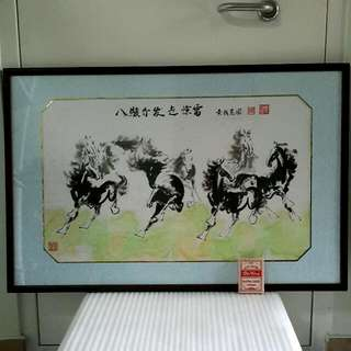 8 Horses Painting Print Frame