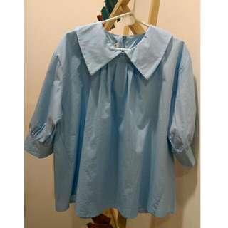 (🌼全新)復古大翻領打摺七分袖上衣