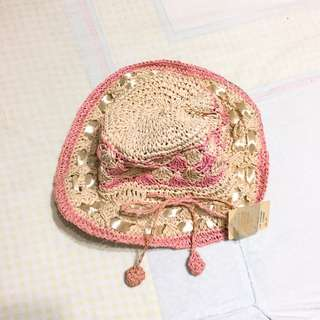 粉紅編織 草帽