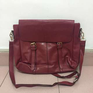 Red PU Leather Sling Bag [Free Postage]