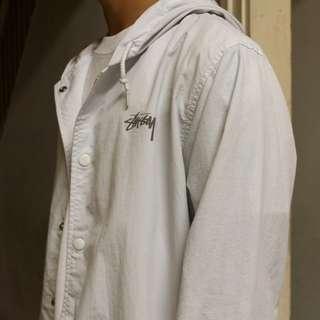 White Stussy Coaches Coat 3M Logo