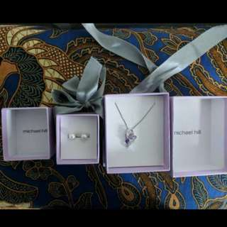 Michael Hill Heart Pendant necklace and Pearl Earrings
