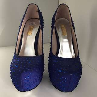 Blue Rhinestone Shoes