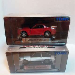tomy,tomica limited 0007,0017, AE86,FD3S,01及02中制蓝字