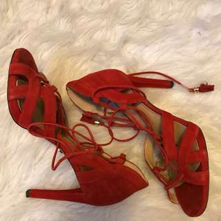 Michael Kors red tie-up heels