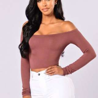 Fashion Nova Crop Top off shoulder